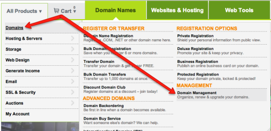 hover domains click domain management