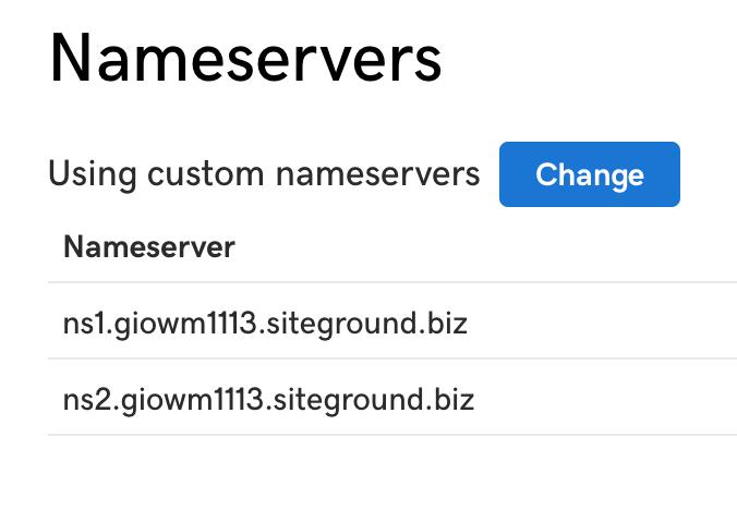 changing name servers