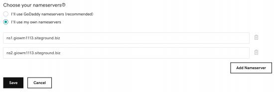 adding correct name servers